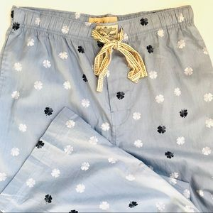 Lucky Brand Blue White Shamrock Mens Pajama Pants